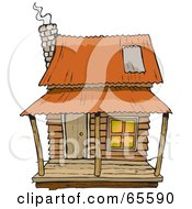 Royalty Free RF Clipart Illustration Of A Rickety Cabin With Smoke Rising From The Chimney by Dennis Holmes Designs