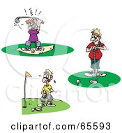 Royalty Free RF Clipart Illustration Of A Digital Collage Of Men Trying To Golf by Dennis Holmes Designs
