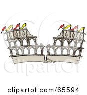 Royalty Free RF Clipart Illustration Of A Crumbling Arena In Ruins