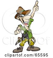 Royalty Free RF Clipart Illustration Of A Male Explorer Pointing Upwards by Dennis Holmes Designs