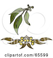 Royalty Free RF Clipart Illustration Of Leaves And Flowers Of Gum Wattle