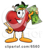 Red Apple Character Mascot Holding A Green Dollar Bill Paying Or Saving Clipart Picture