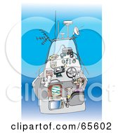Royalty Free RF Clipart Illustration Of A Male Boater With All Of His Contraptions by Dennis Holmes Designs