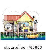 Royalty Free RF Clipart Illustration Of A Cat And Pelican On The Deck Of A Boat Shed by Dennis Holmes Designs