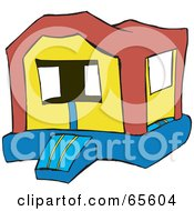 Royalty Free RF Clipart Illustration Of A Deserted Bounce House