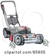 Royalty Free RF Clipart Illustration Of A Mean And Tough Lawn Mower Character by Dennis Holmes Designs