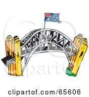 Royalty Free RF Clipart Illustration Of An Australian Flag Atop The Sydney Harbour Bridge by Dennis Holmes Designs