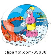Royalty Free RF Clipart Illustration Of A Pink Soda Bottle Jet Skiing by Dennis Holmes Designs