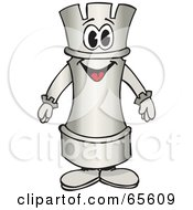Royalty Free RF Clipart Illustration Of A White Rook Chess Piece Character