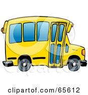 Royalty Free RF Clipart Illustration Of A Yellow School Bus With Blue Windows