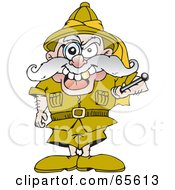 Royalty Free RF Clipart Illustration Of A Short Old Major Standing Tall