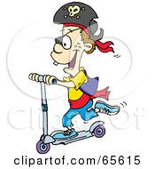 Royalty Free RF Clipart Illustration Of A Pirate Boy Riding A Scooter