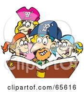 Royalty Free RF Clipart Illustration Of A Family Dressed As Pirates Reading A Story Book by Dennis Holmes Designs