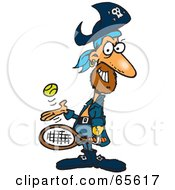 Royalty Free RF Clipart Illustration Of A Pirate Guy Playing Tennis Version 1