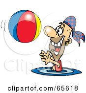 Royalty Free RF Clipart Illustration Of A Pirate Guy Swimming And Playing With A Beach Ball Version 2