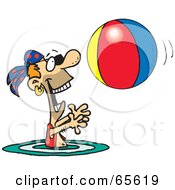 Royalty Free RF Clipart Illustration Of A Pirate Guy Swimming And Playing With A Beach Ball Version 1