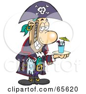 Royalty Free RF Clipart Illustration Of A Pirate Guy Serving A Cocktail by Dennis Holmes Designs
