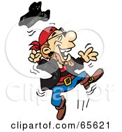 Royalty Free RF Clipart Illustration Of A Pirate Guy Jumping by Dennis Holmes Designs