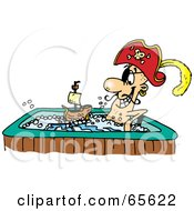 Royalty Free RF Clipart Illustration Of A Pirate Guy Playing With A Boat And Soaking In A Hot Tub by Dennis Holmes Designs