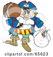 Pirate Guy Carrying A Barrel And Bags