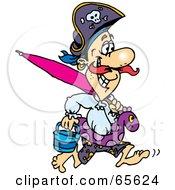 Pirate Guy Running On A Beach