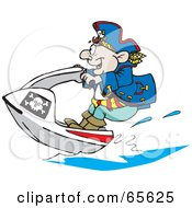 Royalty Free RF Clipart Illustration Of A Pirate Guy Jet Skiing by Dennis Holmes Designs
