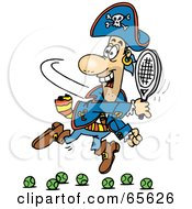 Royalty Free RF Clipart Illustration Of A Pirate Guy Playing Tennis Version 2