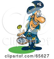 Royalty Free RF Clipart Illustration Of A Pirate Guy Playing Tennis Version 3