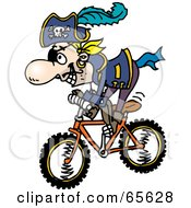 Royalty Free RF Clipart Illustration Of A Pirate Guy Riding A Bike Version 2
