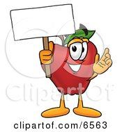 Red Apple Character Mascot Holding A Blank White Sign Over His Head Clipart Picture by Toons4Biz
