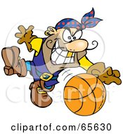 Royalty Free RF Clipart Illustration Of A Pirate Guy Playing Basketball by Dennis Holmes Designs