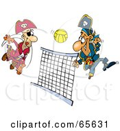 Royalty Free RF Clipart Illustration Of Pirate Guys Playing Volleyball