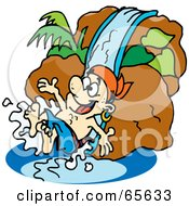 Royalty Free RF Clipart Illustration Of A Pirate Guy Going Down A Water Slide by Dennis Holmes Designs