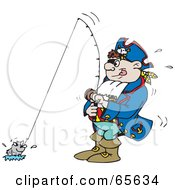 Royalty Free RF Clipart Illustration Of A Pirate Guy Fishing by Dennis Holmes Designs