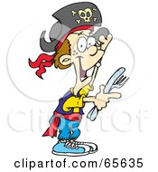 Royalty Free RF Clipart Illustration Of A Pirate Boy Holding A Knife And Fork by Dennis Holmes Designs