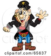 Royalty Free RF Clipart Illustration Of A Pirate Guy Waving by Dennis Holmes Designs