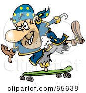 Royalty Free RF Clipart Illustration Of A Pirate Guy Skateboarding Version 2 by Dennis Holmes Designs