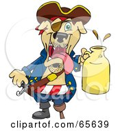 Royalty Free RF Clipart Illustration Of A Pirate Dog Holding A Beer Jug by Dennis Holmes Designs