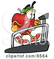 Red Apple Character Mascot Walking On A Treadmill In A Fitness Gym Clipart Picture by Toons4Biz