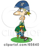 Royalty Free RF Clipart Illustration Of A Pirate Guy Golfing Version 2 by Dennis Holmes Designs