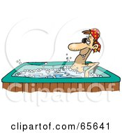 Royalty Free RF Clipart Illustration Of A Pirate Guy Soaking In A Hot Tub