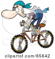 Royalty Free RF Clipart Illustration Of A Pirate Guy Riding A Bike Version 1