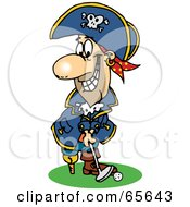 Royalty Free RF Clipart Illustration Of A Pirate Guy Golfing Version 3 by Dennis Holmes Designs