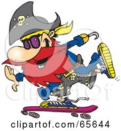 Royalty Free RF Clipart Illustration Of A Pirate Guy Skateboarding Version 1