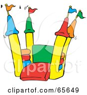 Royalty Free RF Clipart Illustration Of An Open Colorful Bounce Castle by Dennis Holmes Designs