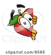 Red Apple Character Mascot Peeking Around A Corner And Spying On Someone Clipart Picture by Toons4Biz