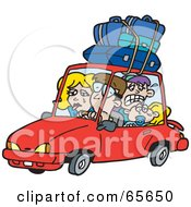 Royalty Free RF Clipart Illustration Of A Family On A Road Trip Version 1 by Dennis Holmes Designs