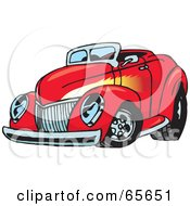 Royalty Free RF Clipart Illustration Of A Red Convertible Hot Rod With A Flame Paint Job
