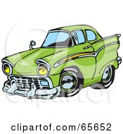 Royalty Free RF Clipart Illustration Of A Green Hot Rod Car by Dennis Holmes Designs