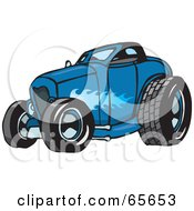 Royalty Free RF Clipart Illustration Of A Blue Hot Rod With A Ghost Flame Paint Job by Dennis Holmes Designs